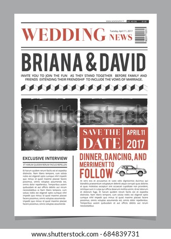 Newspaper style wedding invitation vector design stock vector wedding invitation on newspaper front page design layout template stopboris Images
