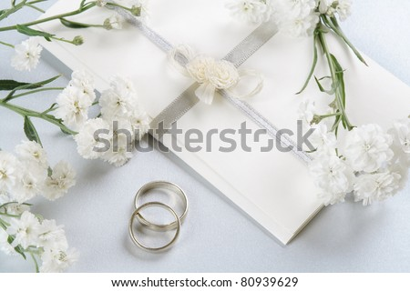 Wedding invitation, romantic background with delicate Perry's White flowers. - stock photo