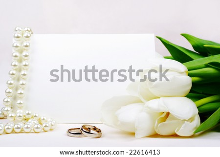 Wedding invitation with copy space - stock photo