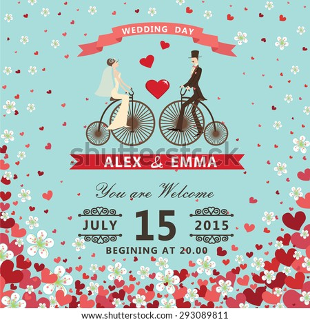 Wedding invitation with groom ,bride couple in Retro bicycle with vignettes,ribbon,pigeons.Flying hearts and spring flowers. Summer background, design template, save  date card. Vintage illustration
