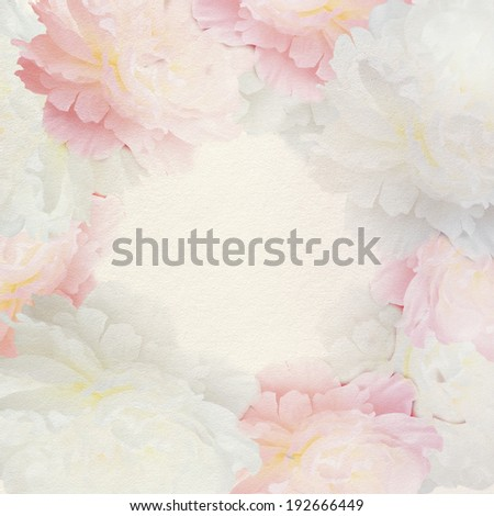 Wedding invitation with peony flowers.  - stock photo