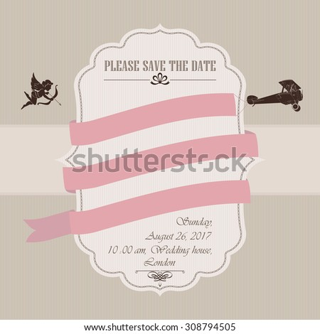 Wedding invitation with Vintage airplane and red ribbons - stock photo