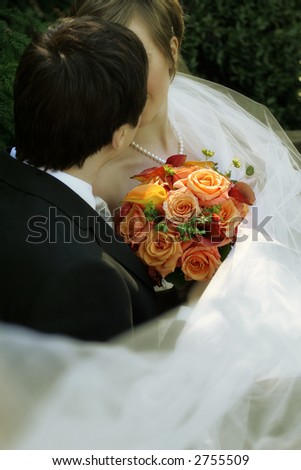 Wedding - kiss - stock photo