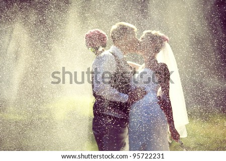 wedding kiss - stock photo