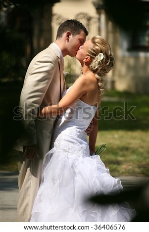 wedding kiss,series - stock photo