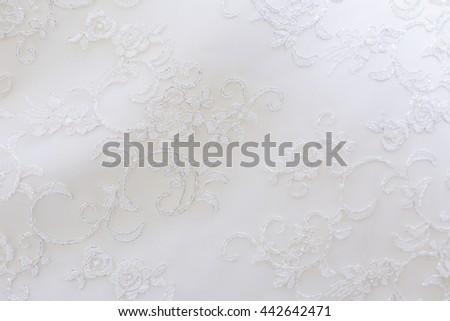 Wedding lace texture close up - stock photo