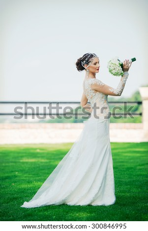 Wedding, love, beautiful wedding, happy, kiss, wedding bouquet - stock photo