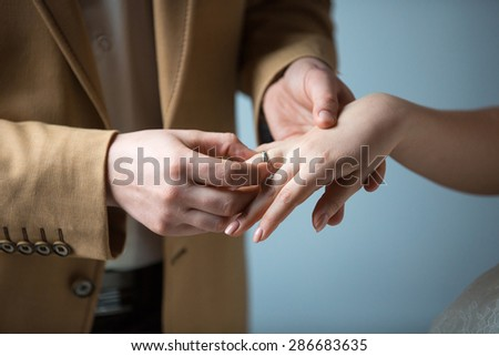 Wedding man woman rings marriage offer marriage bride groom - stock photo