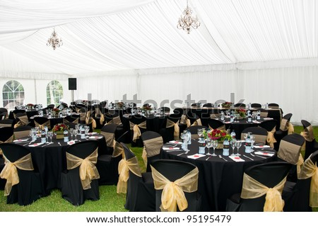 Wedding Marquee in Black and gold theme - stock photo