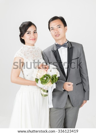wedding married couple  on the white background