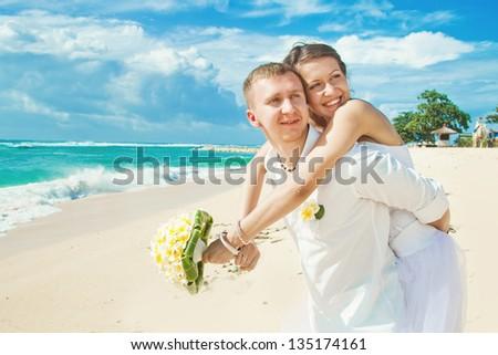 wedding on beach, bali - stock photo