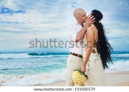 Wedding on the beach - bali - stock photo