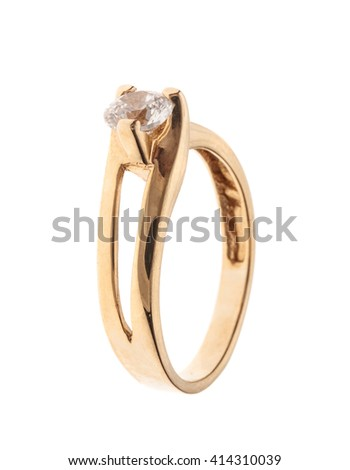 Wedding or engagement ring made of gold isolated on white