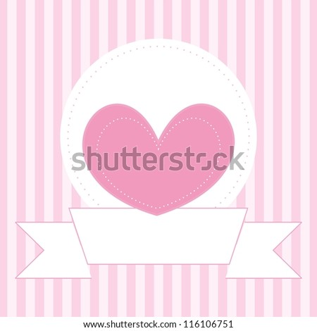 Wedding or valentines card, baby shower invitation or other document template with sweet pink heart on cute background and white place to put your own text message - stock photo