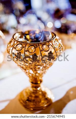 Wedding parfume table arrangement  - stock photo