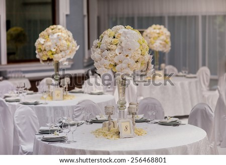 wedding party table decorations - stock photo