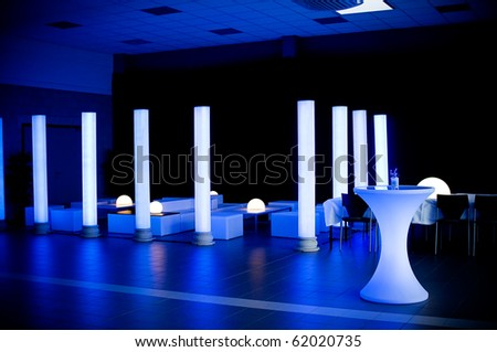 Wedding party venue in blue light