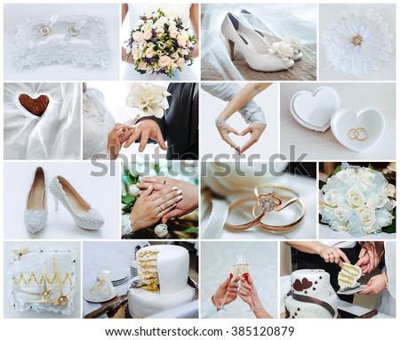 wedding photo set, the details and moments of wedding - stock photo