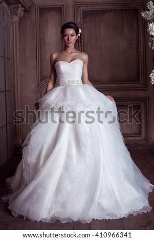 Wedding photo shoot bride. Photographing a wedding fashion. Wedding Dress. Fashion luxuriant wedding dress - stock photo