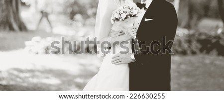 Wedding picture. Newlywed couple together.  - stock photo