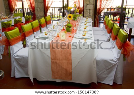 wedding place on the restaurant - stock photo