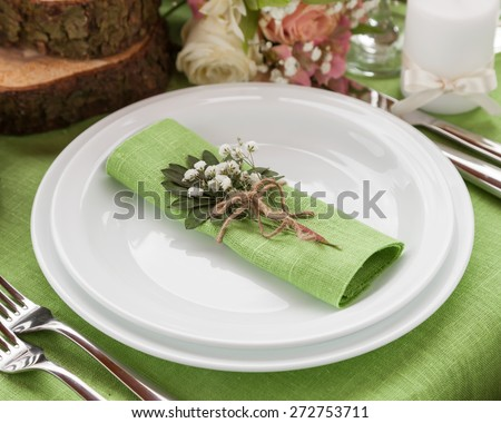 Wedding place setting in fashion rustic style. - stock photo