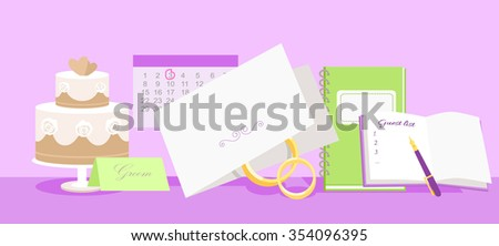 Wedding planning design flat fashion. Wedding planner, event planning, wedding invitation, plan and wedding cake, holiday decoration, marriage event illustration. Raster version - stock photo