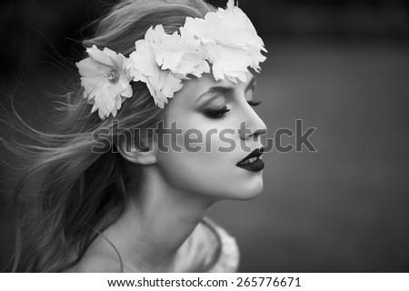 wedding portrait beautiful girl - stock photo