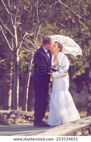 Wedding portrait of a young couple - stock photo