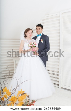 Wedding. Portrait Of Beautiful Bride And Groom