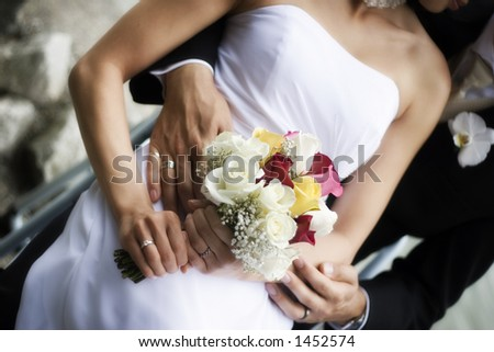 wedding pose with bride and groom - stock photo