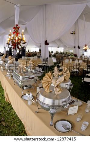 Wedding reception dinner banquet party table settings - stock photo