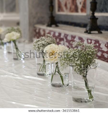 wedding reception in chirch. Decoration - stock photo