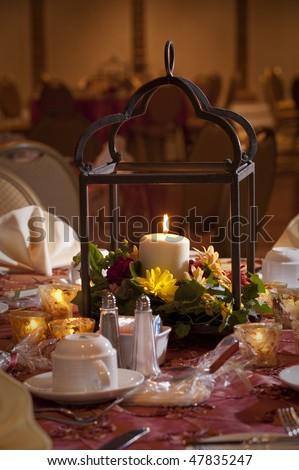 Wedding reception party table center piece - stock photo