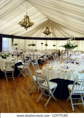 Wedding reception place ready for guests - stock photo