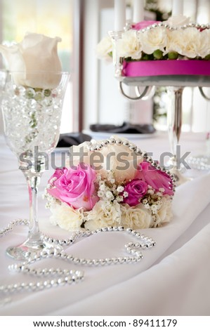 Wedding reception place ready for guests. pink color style accent - stock photo