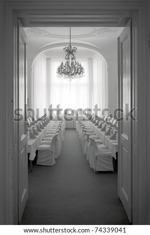 wedding reception room, black and white picture - stock photo