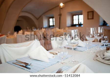 wedding reception table setting - stock photo