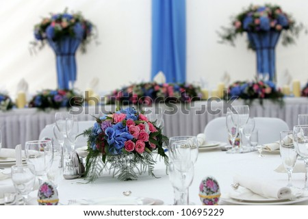 Wedding reception tables - stock photo