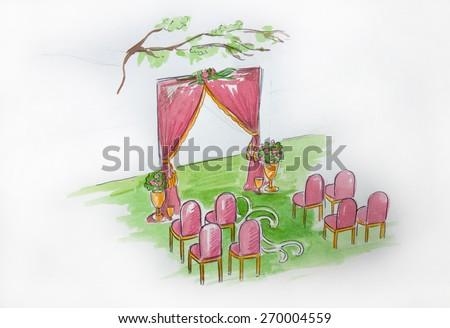 wedding registration,decor design, decoration idea style,just married organization, designer, arrange wedding place and guest seats, outdoor,  - stock photo