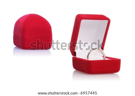 Wedding ring and a closed box