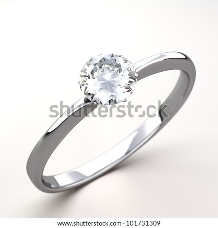Wedding Ring  gift isolated. Close Up of a White Gold Ring with Diamonds. Beautiful sparkling diamond on a light reflective surface. High quality 3d render. - stock photo