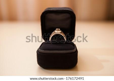 wedding ring in black box - stock photo