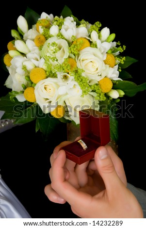 Wedding Ring Box Proposal Bouquet Flowers Stock Photo Royalty Free