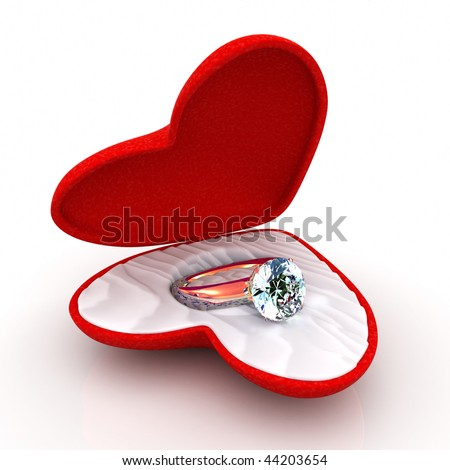 wedding ring in heart-shaped elegant box open like a butterfly - stock photo