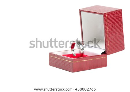 Wedding ring in the red box on white background