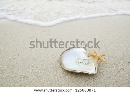 wedding ring on the shell by the beach - stock photo
