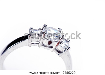 Wedding Ring or Engagement Ring on white - stock photo