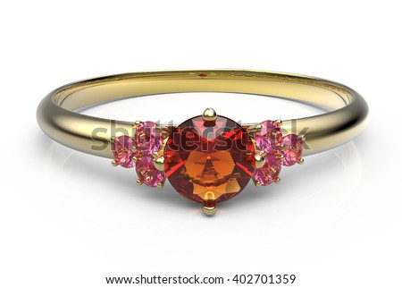 Wedding ring with a diamond. Isolated on white background. 3d digitally rendered illustration - stock photo