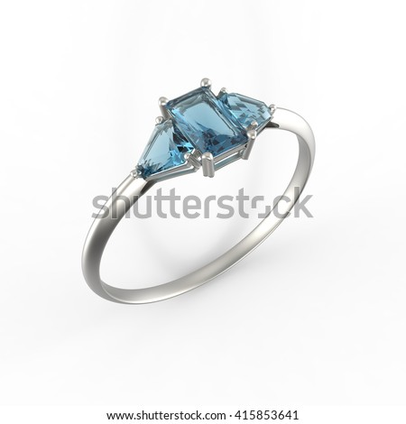 Wedding ring with diamond isolated on a white background.  3d digitally rendered illustration